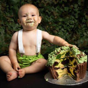 Army themed cake smash photo