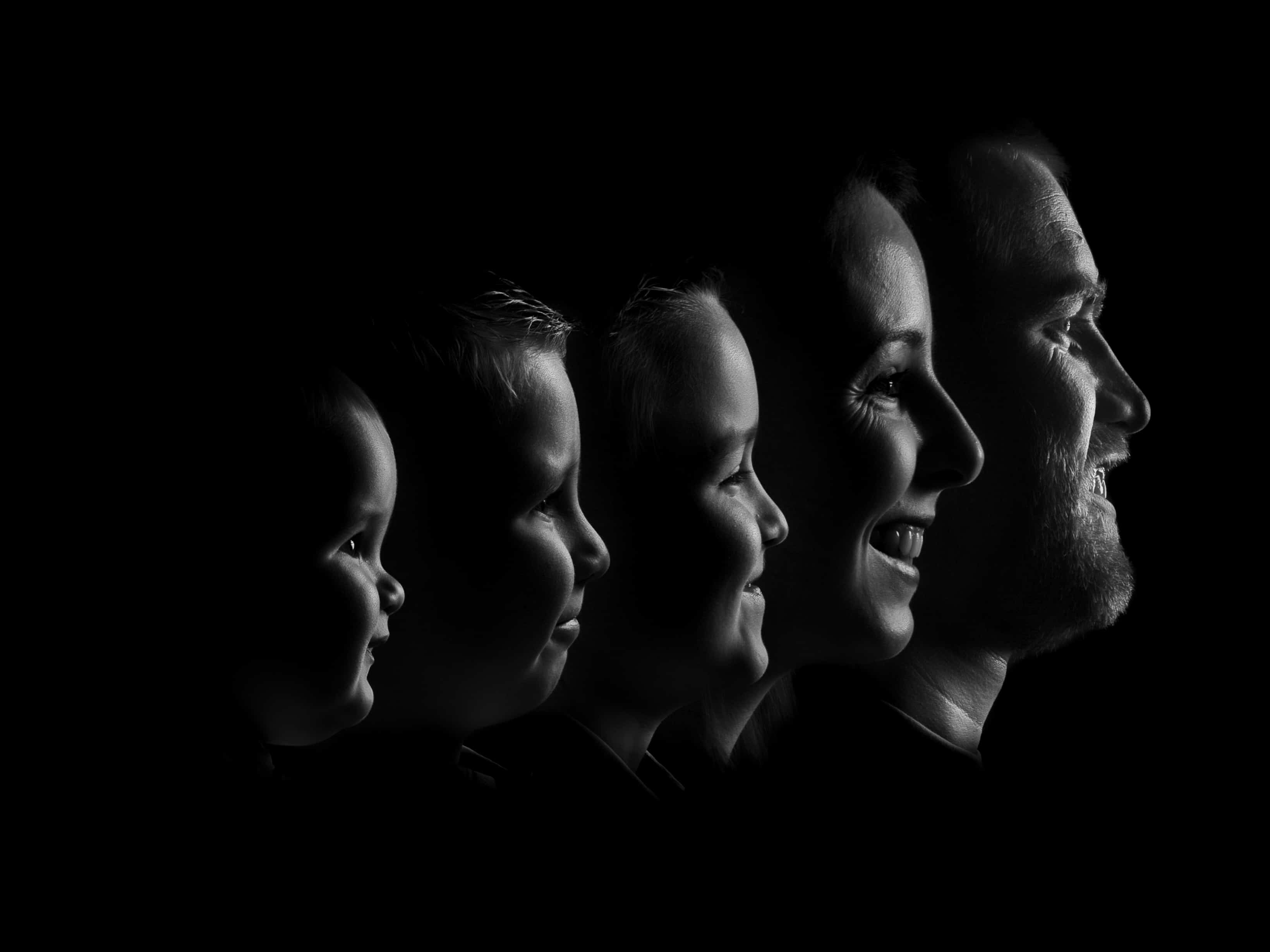 Black and white silhouette family portrait